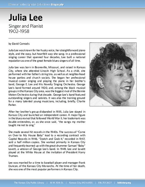 Biography of Julia Lee (1902-1958), Singer and Pianist | KC