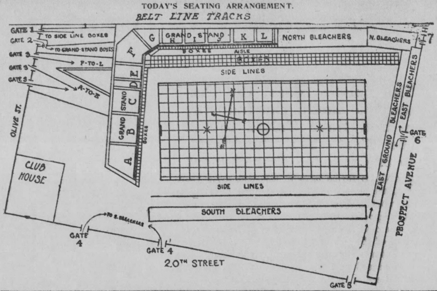 Diagram of Football Field at Association Park in 1909