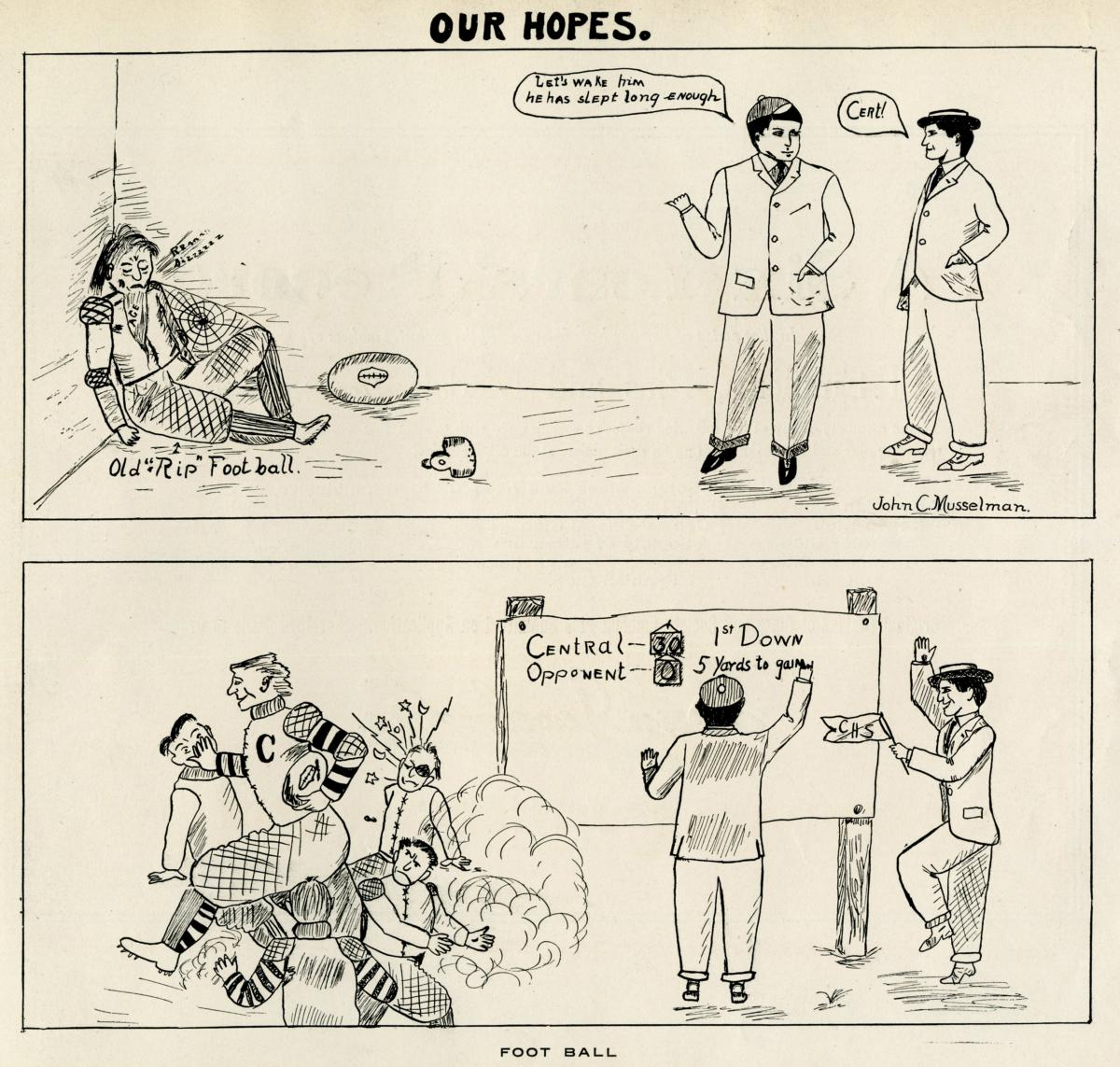 Cartoon from 1907 Central High School Yearbook Celebrating the Return of Football