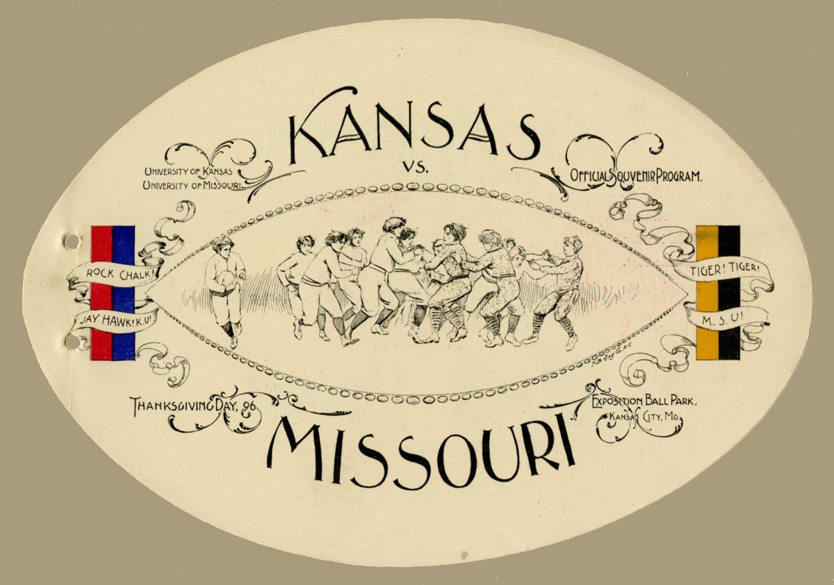 1896 Promotional Card for Kansas and Missouri Football Game at Exposition Park