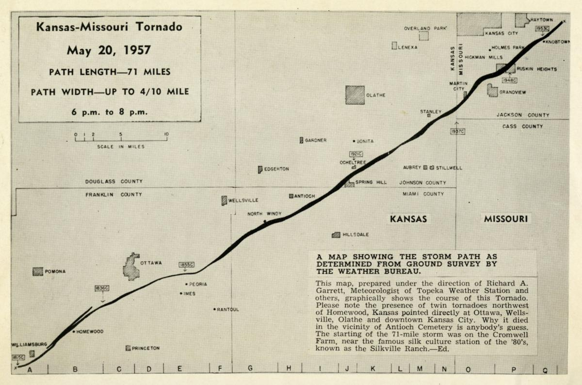 Map showing the tornado's path, 1957
