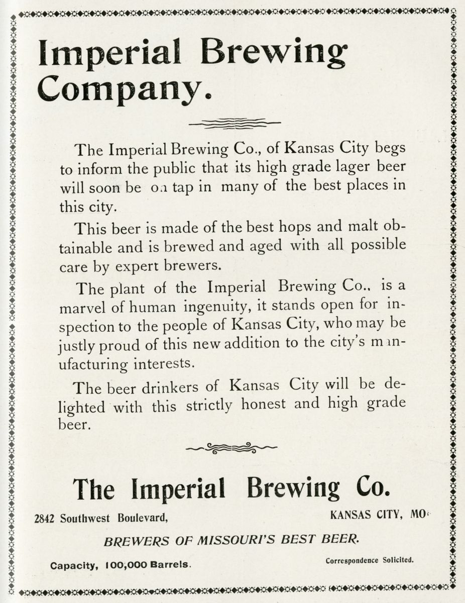Imperial Brewing Company Advertisement, Kansas City Manufacturer, May 1902