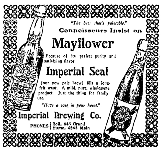 Imperial Brewing Company Advertisement, Kansas City Star, November 6, 1904