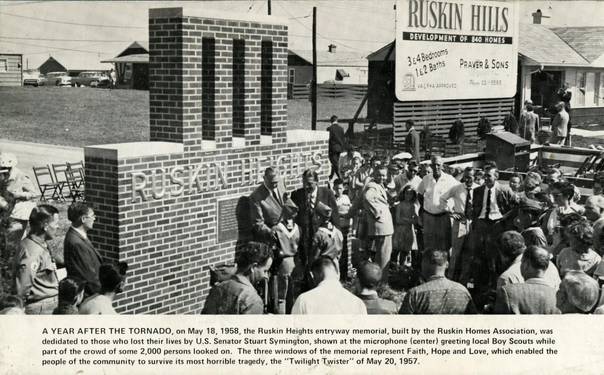 Dedication of the Ruskin Heights Tornado Memorial, May 18, 1957