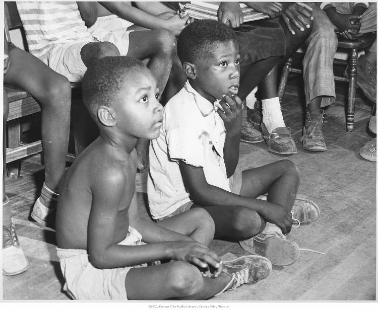 African American children at the Kansas City Public Library