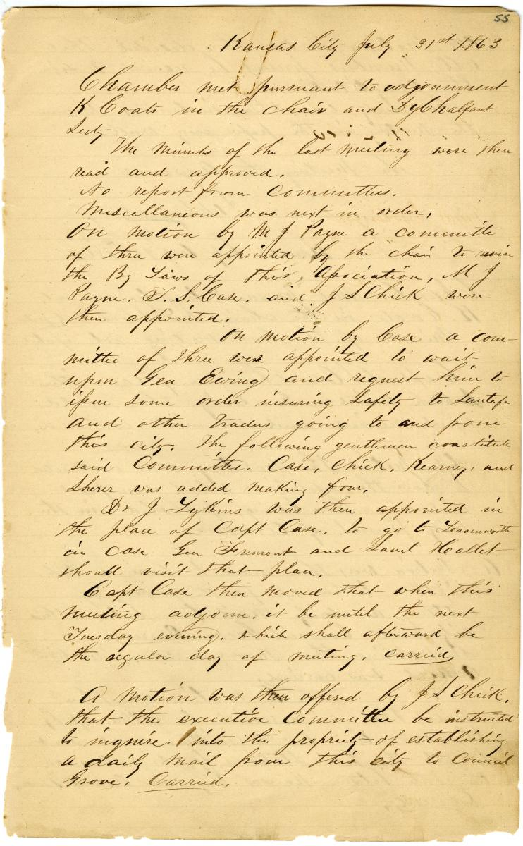 Minutes for July 31, 1863