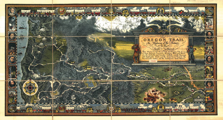 Three dimensional, pictorial color map of the Oregon Trail
